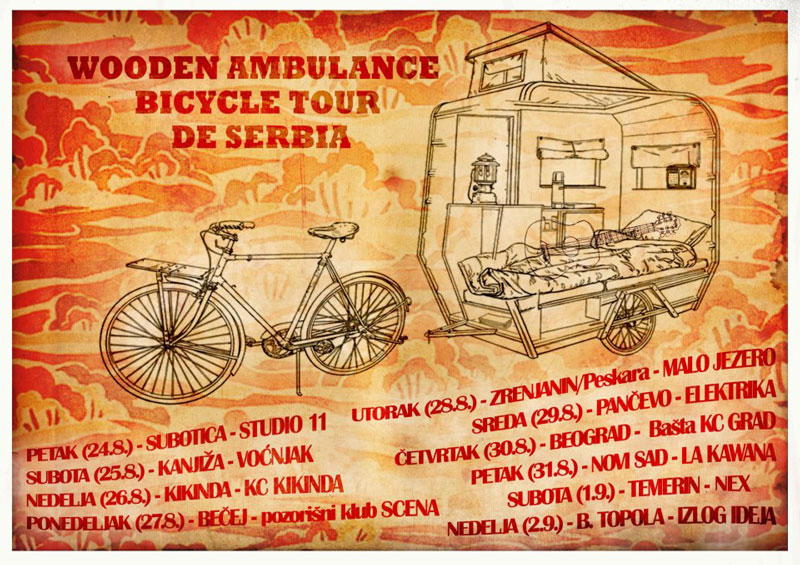 Wooden Ambulance on bicycle tour de Serbia