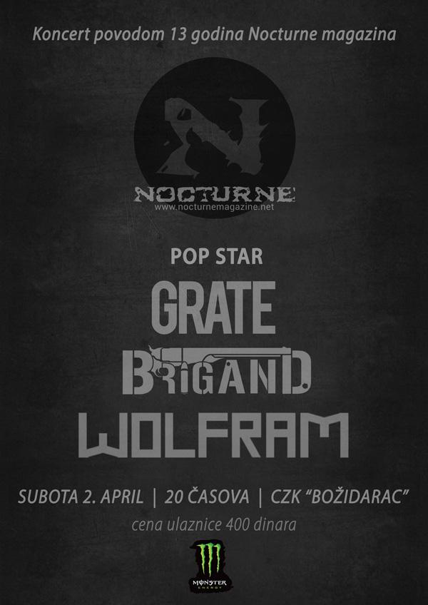 Nocturne magazin slavi 13. rođendan uz Wolfram, Pop Star, Grate i Brigand